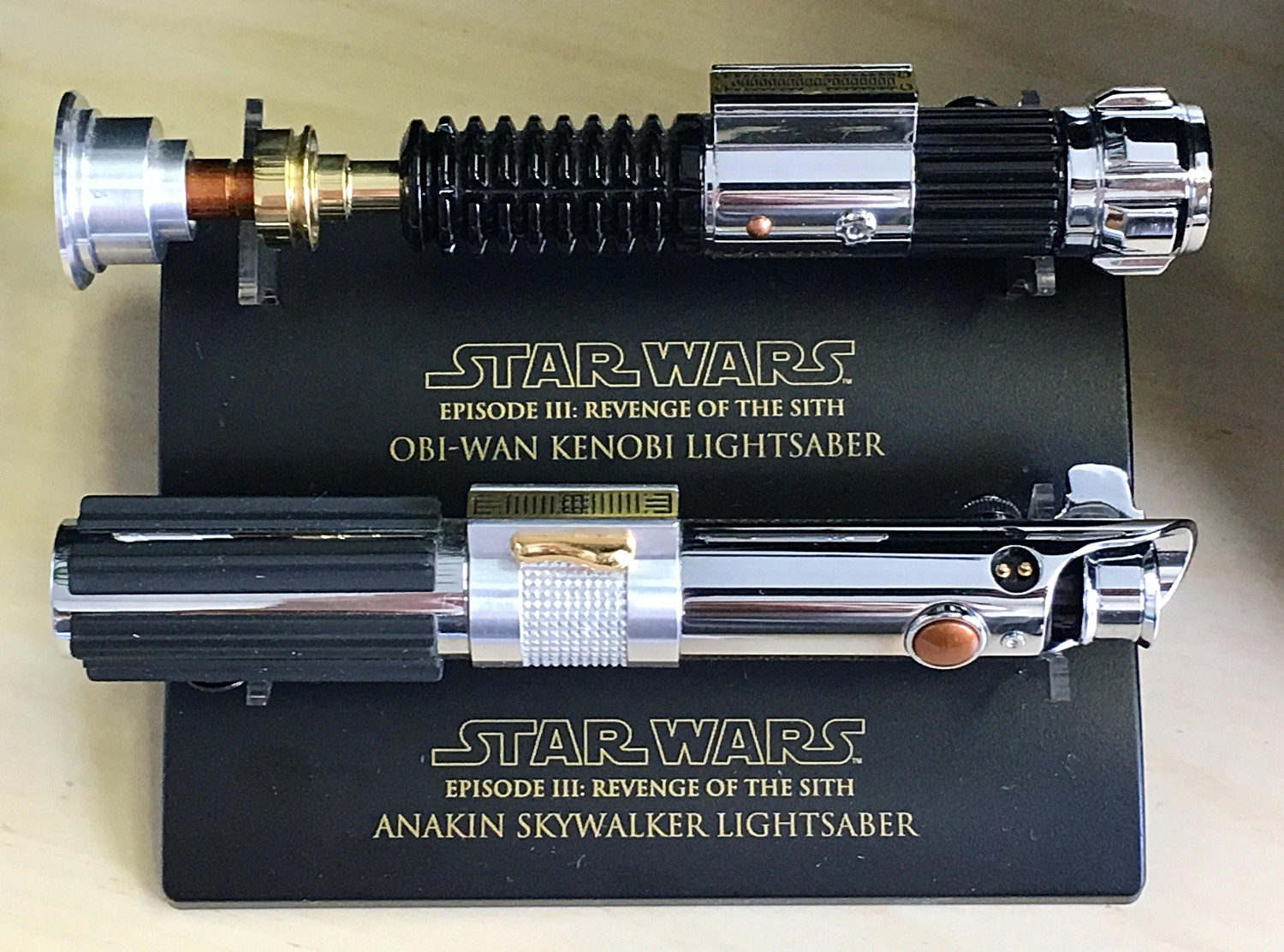 Found my Master Replicas 0.45 lightsabers at the MIL\'s place over the holidays!