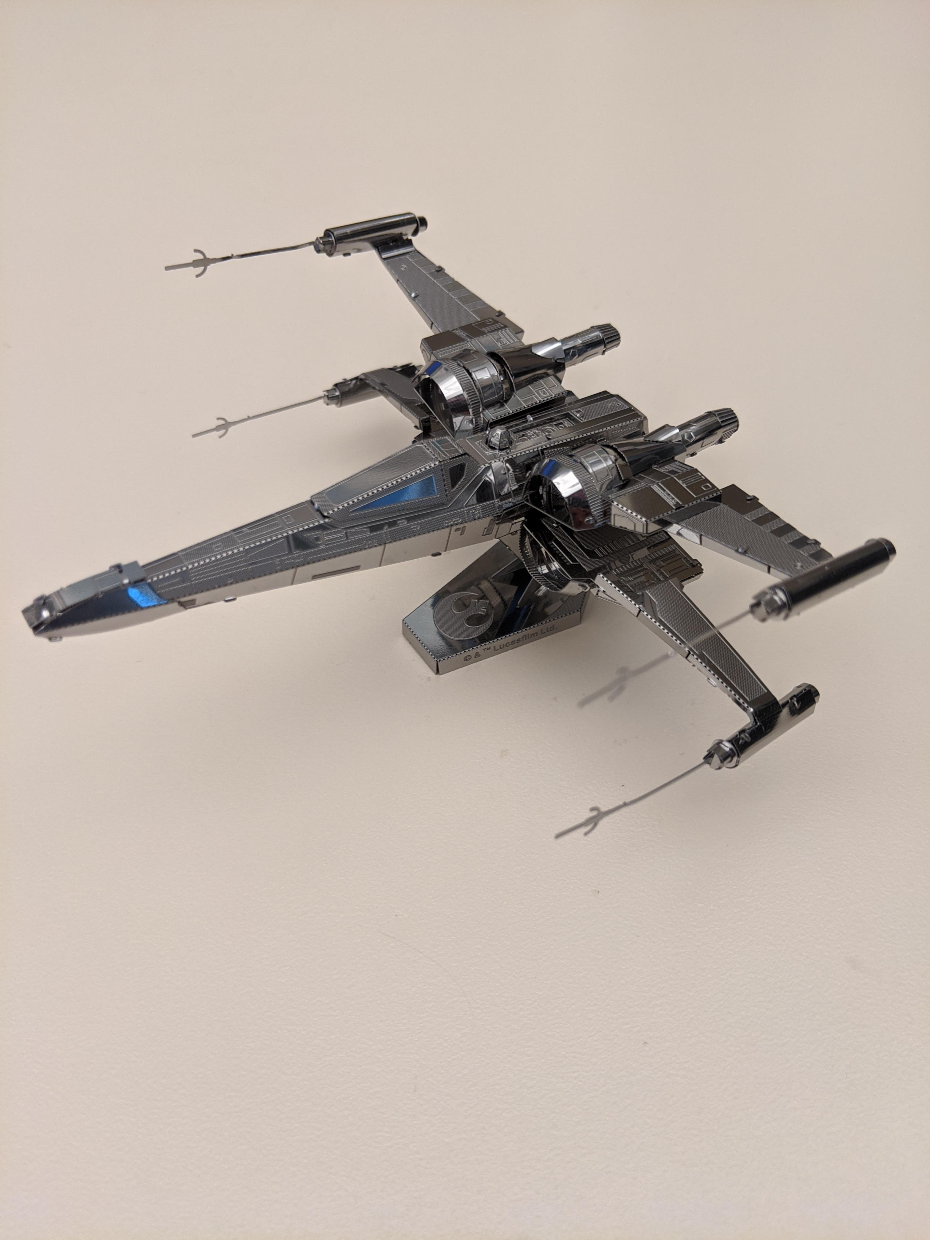 Model I built from Metal Earth. Poe Dameron\'s X-Wing