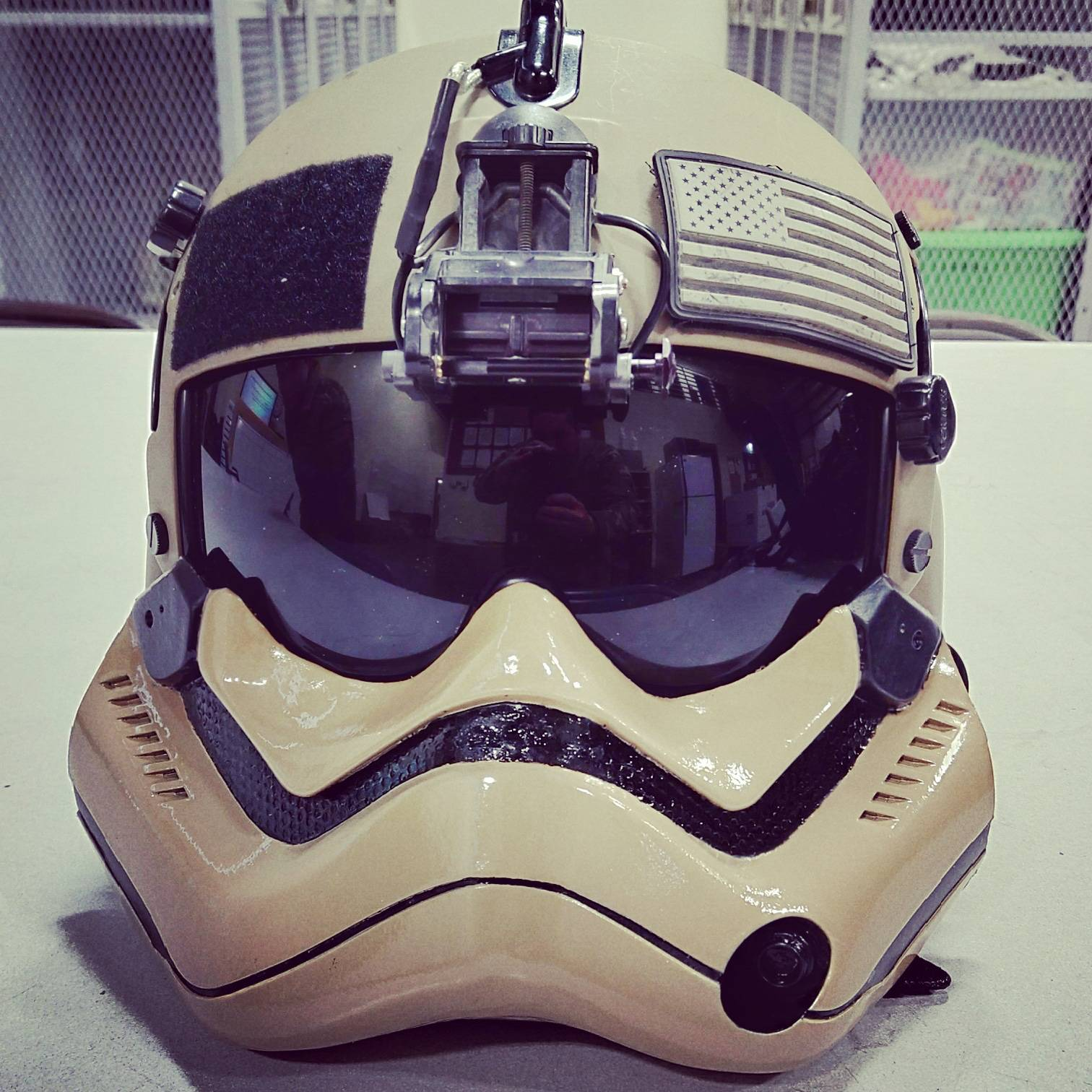 People said I should post my brother\'s flight helmet mod in here! He flies Blackhawks in the US Army.