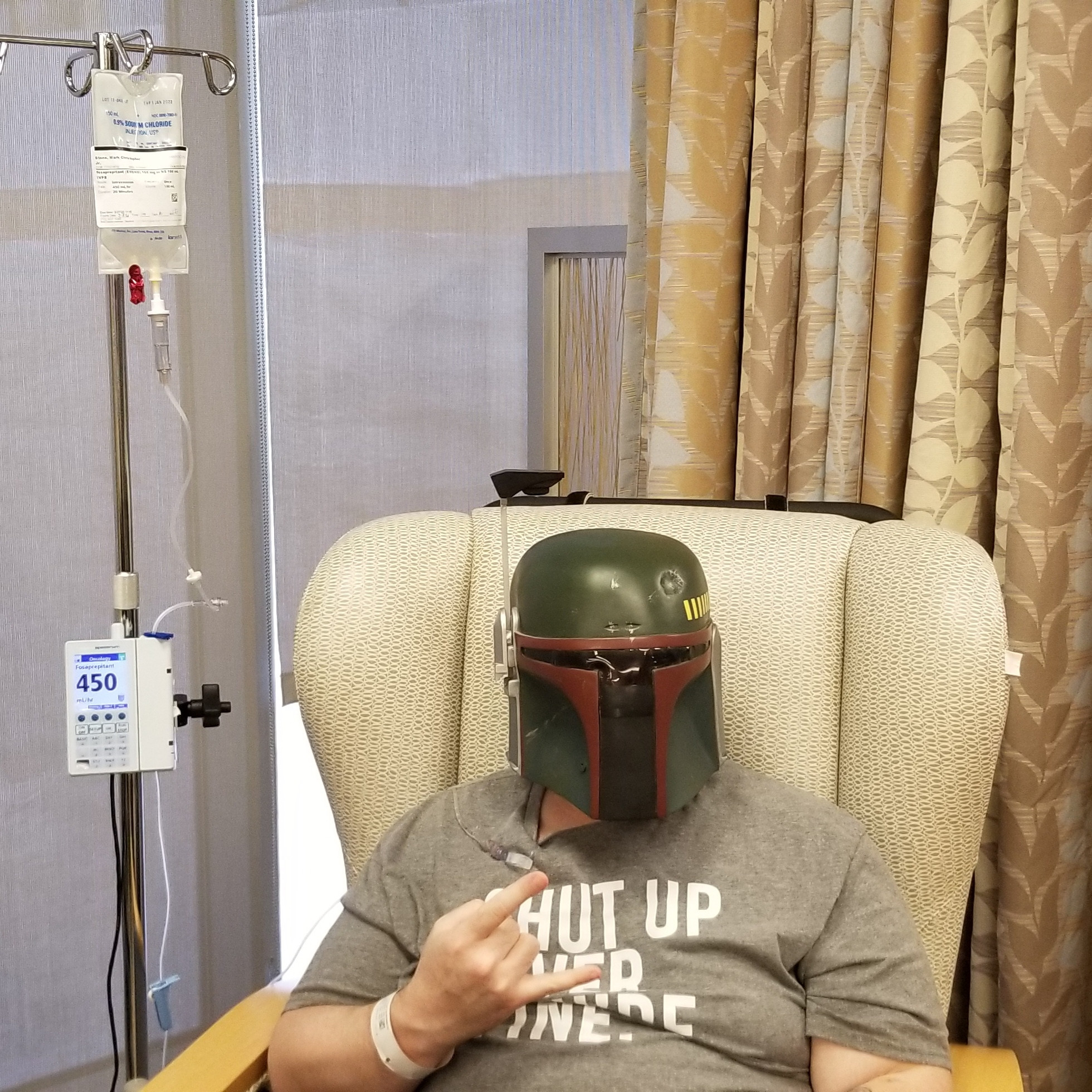 Decided to protect myself during chemo as a true Star Wars fan should
