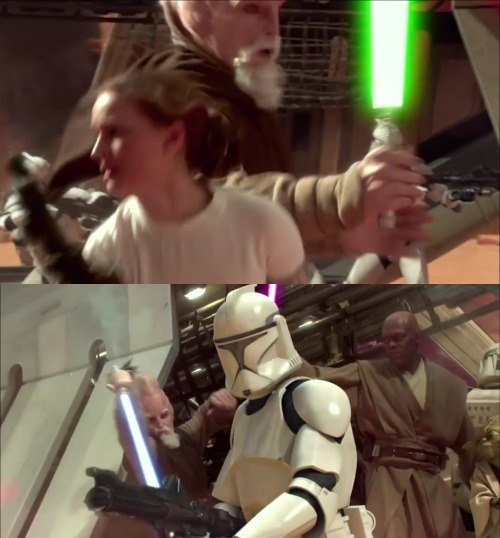 In AOTC, during the area battle Ki Adi Mundi\'s lightsaber is incorrectly coloured green for 1 shot.