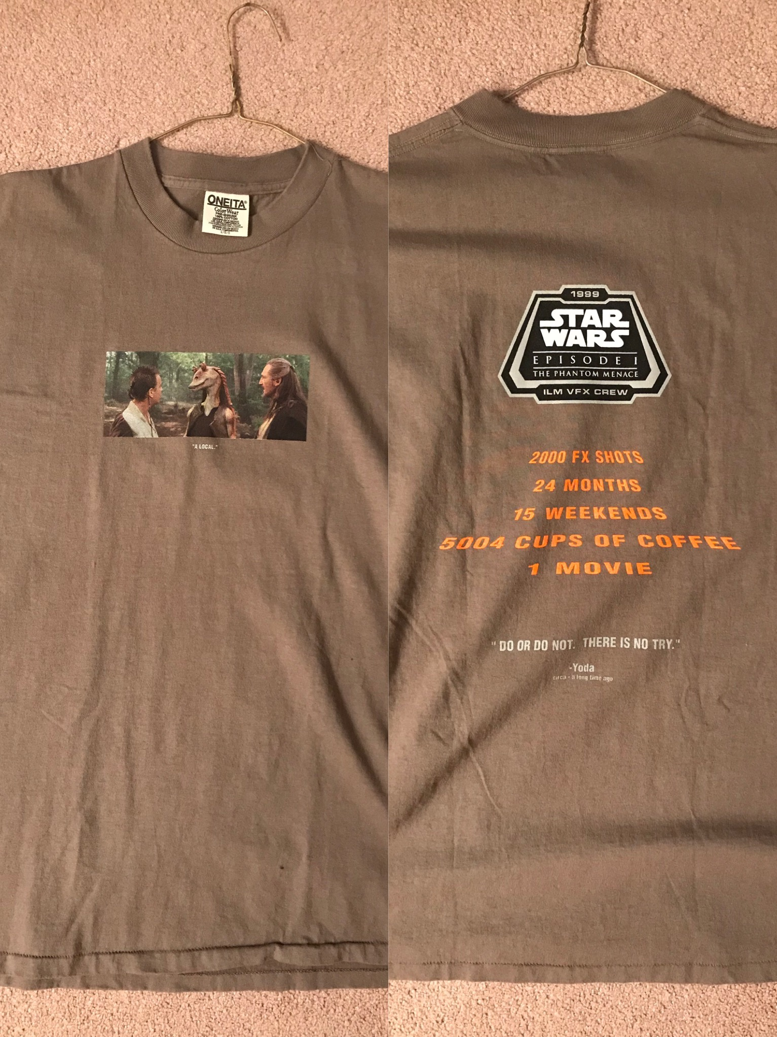 This awesome Episode 1 VFX crew shirt I found at a relatives house!
