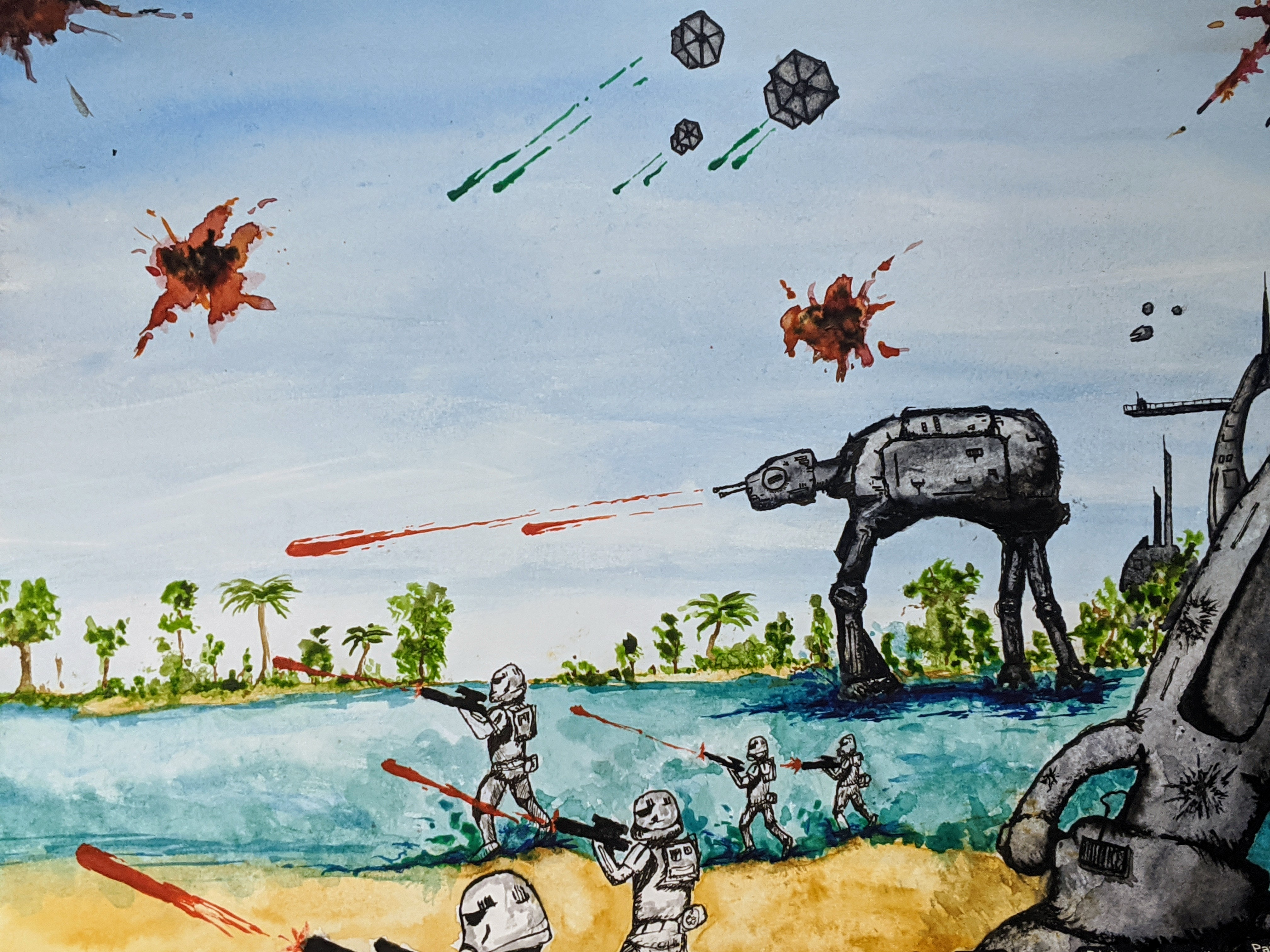 Watercolor painting of the Battle of Scarif