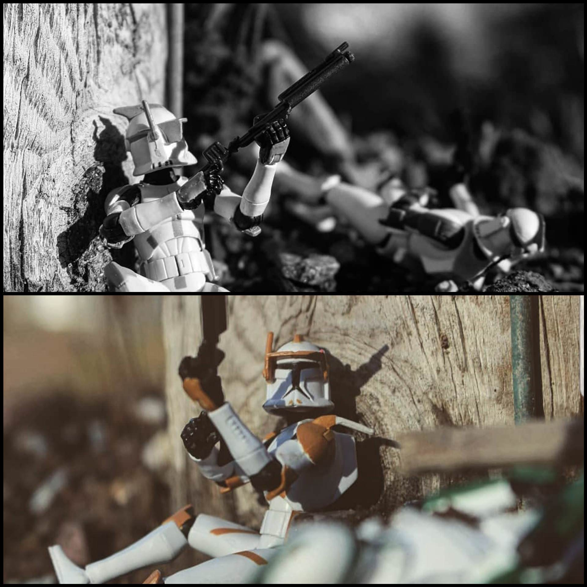 Took some action figure photos of clone troopers in battle