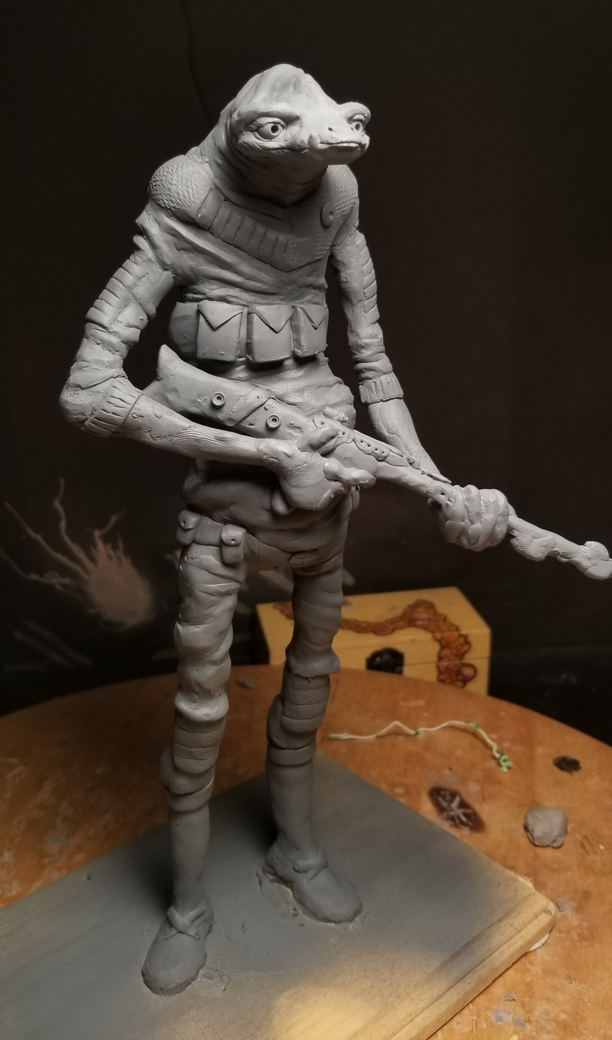 [OC] Bartök the Bounty Hunter (Star Wars character I made up and sculpted during this snowstorm)