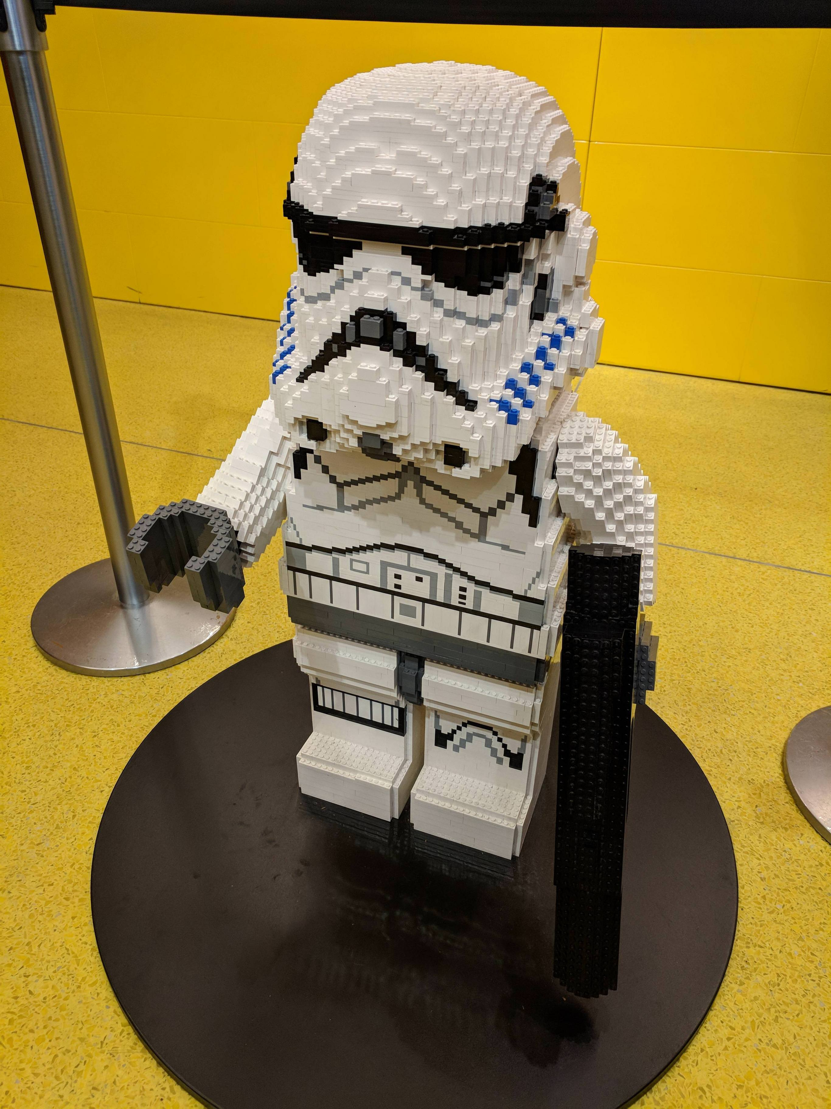 Spotted at the Lego store at Guildford mall in Surrey. It\'s the size of a kindergartener.