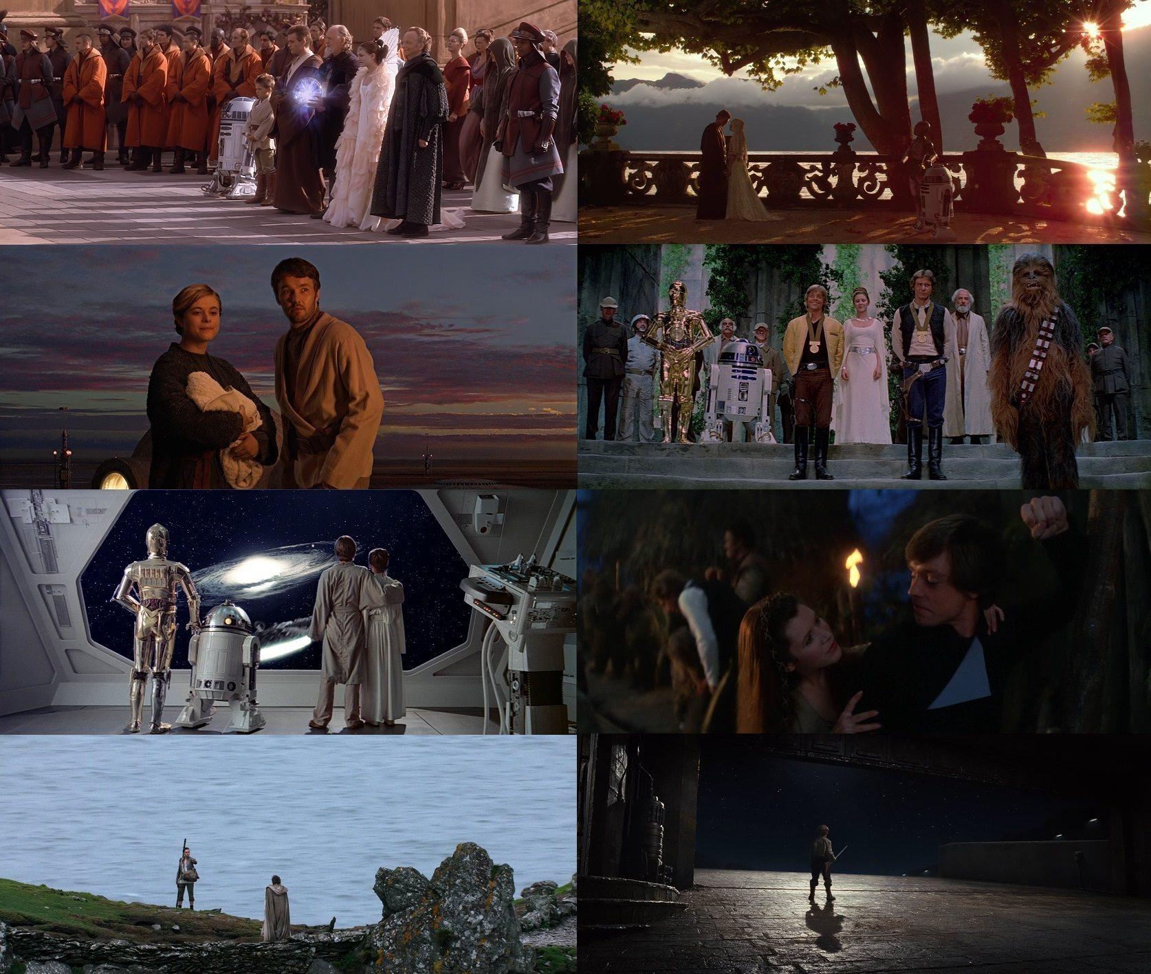 Last scenes of all 8 saga films so far. Skywalkers are in 7 of them.