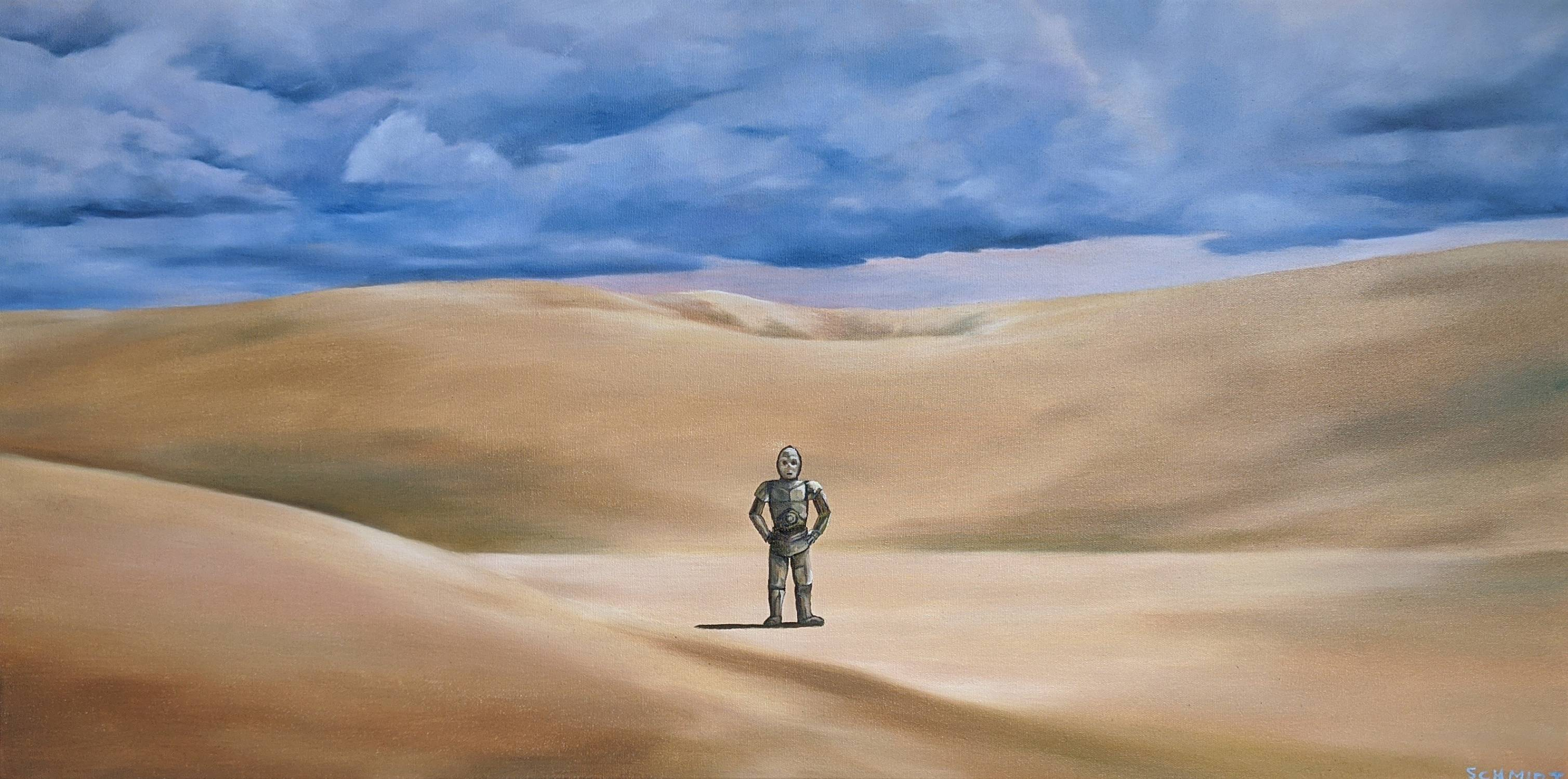 I made an oil painting of my favorite frame of C-3PO from A New Hope