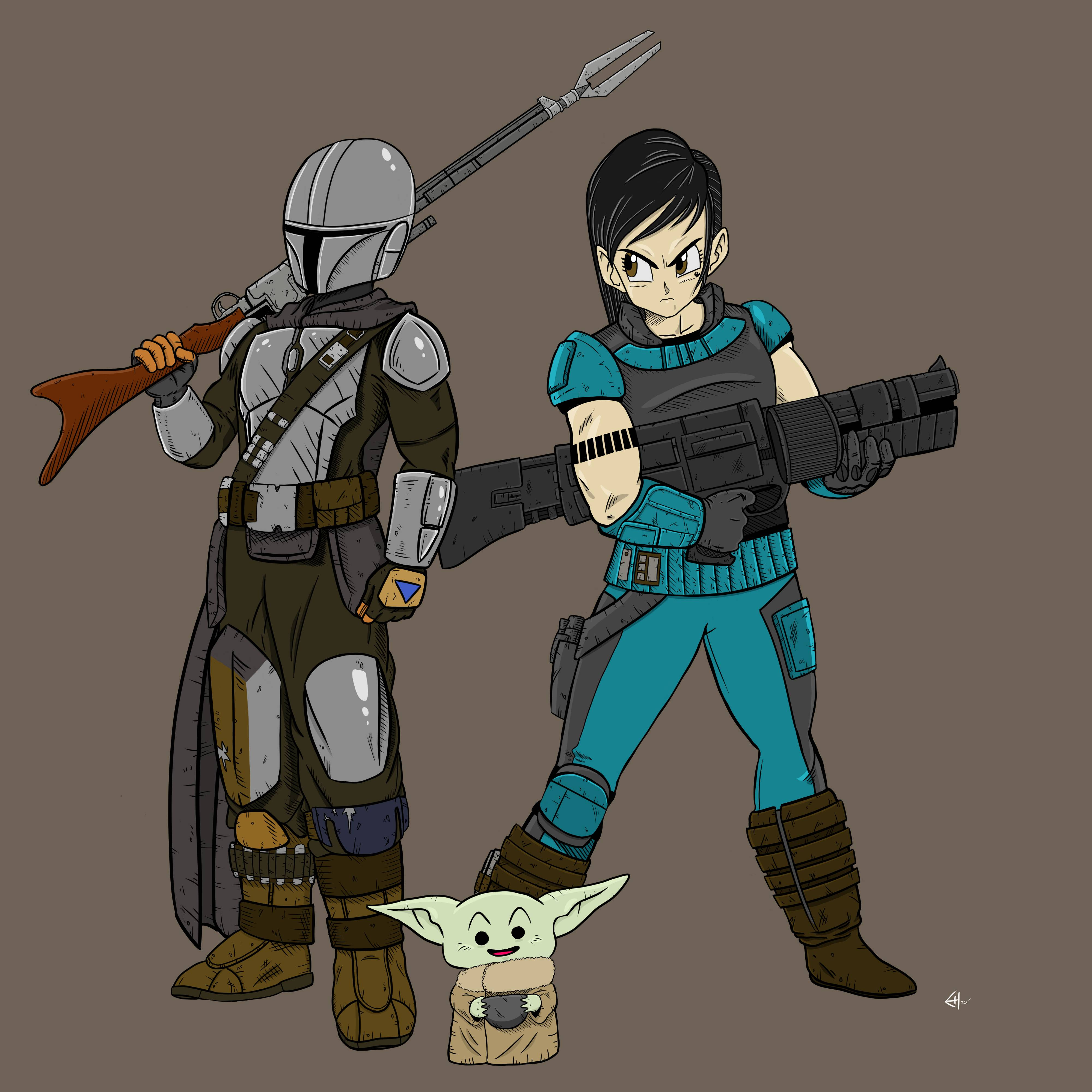 Today I drew The Mandalorian, The Child and Cara Dune in the style of Akira Toriyama