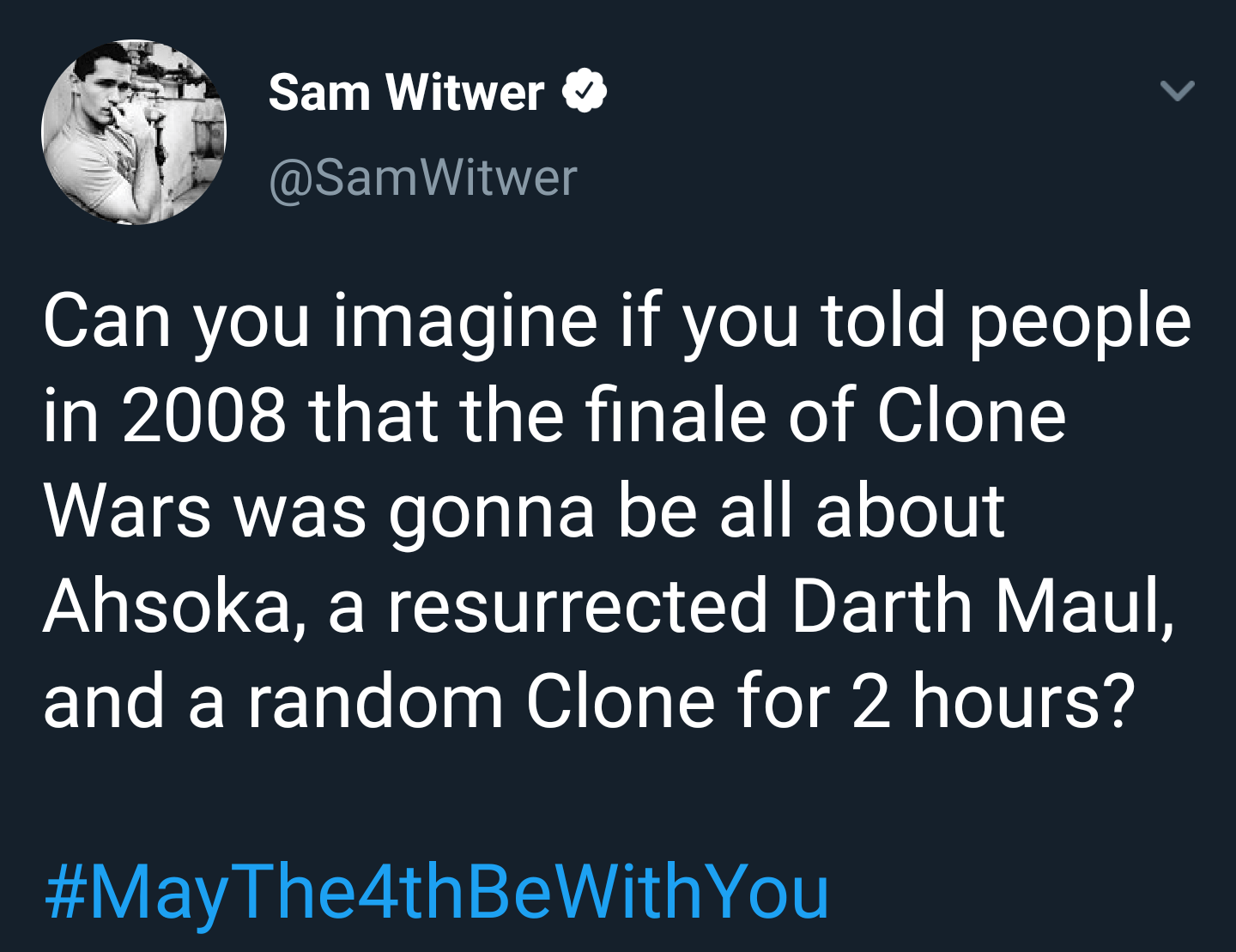 Sam Witwer remarks on how far The Clone Wars has come in the past 12 years