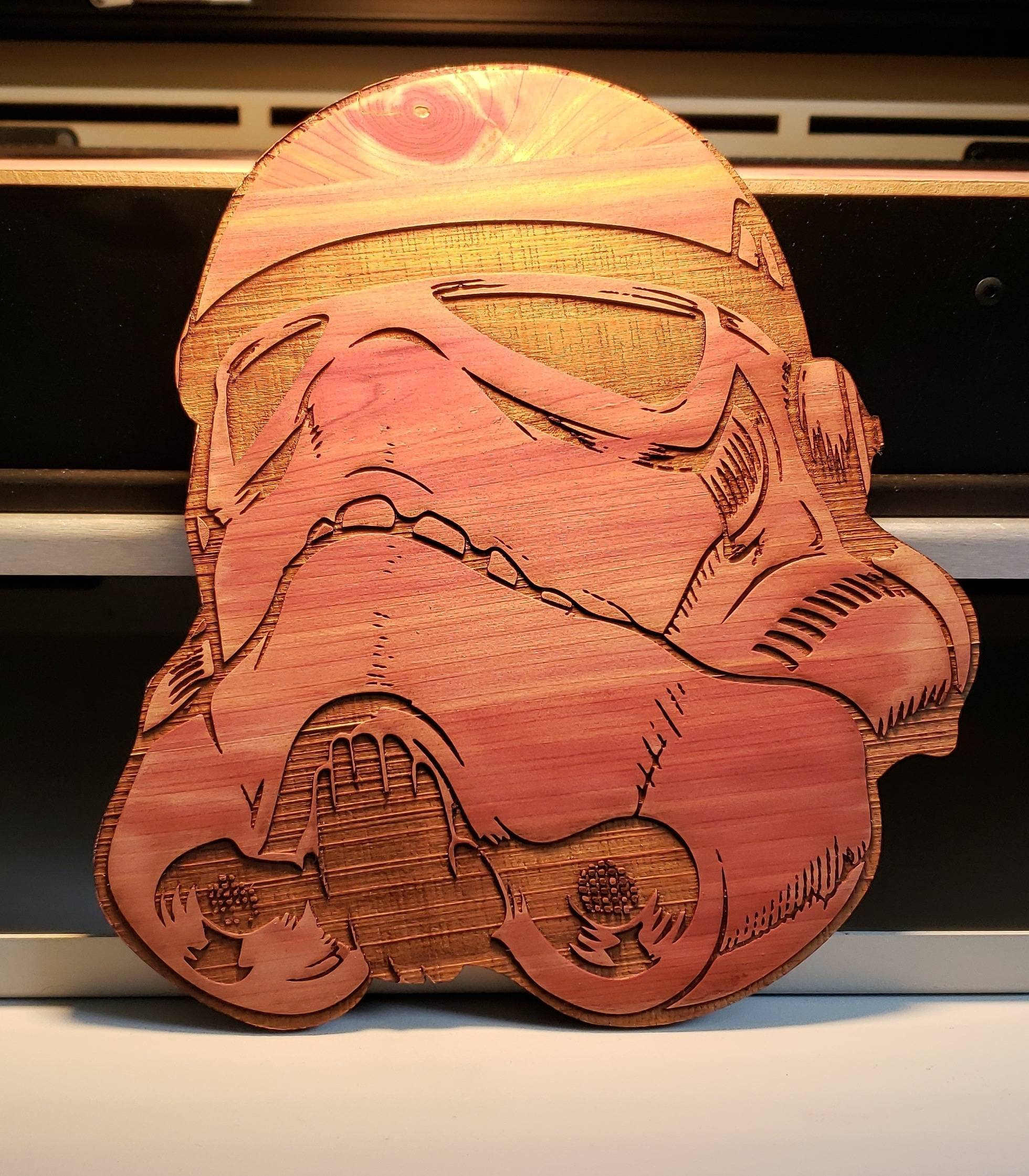 Laser engraved stormtrooper helmet