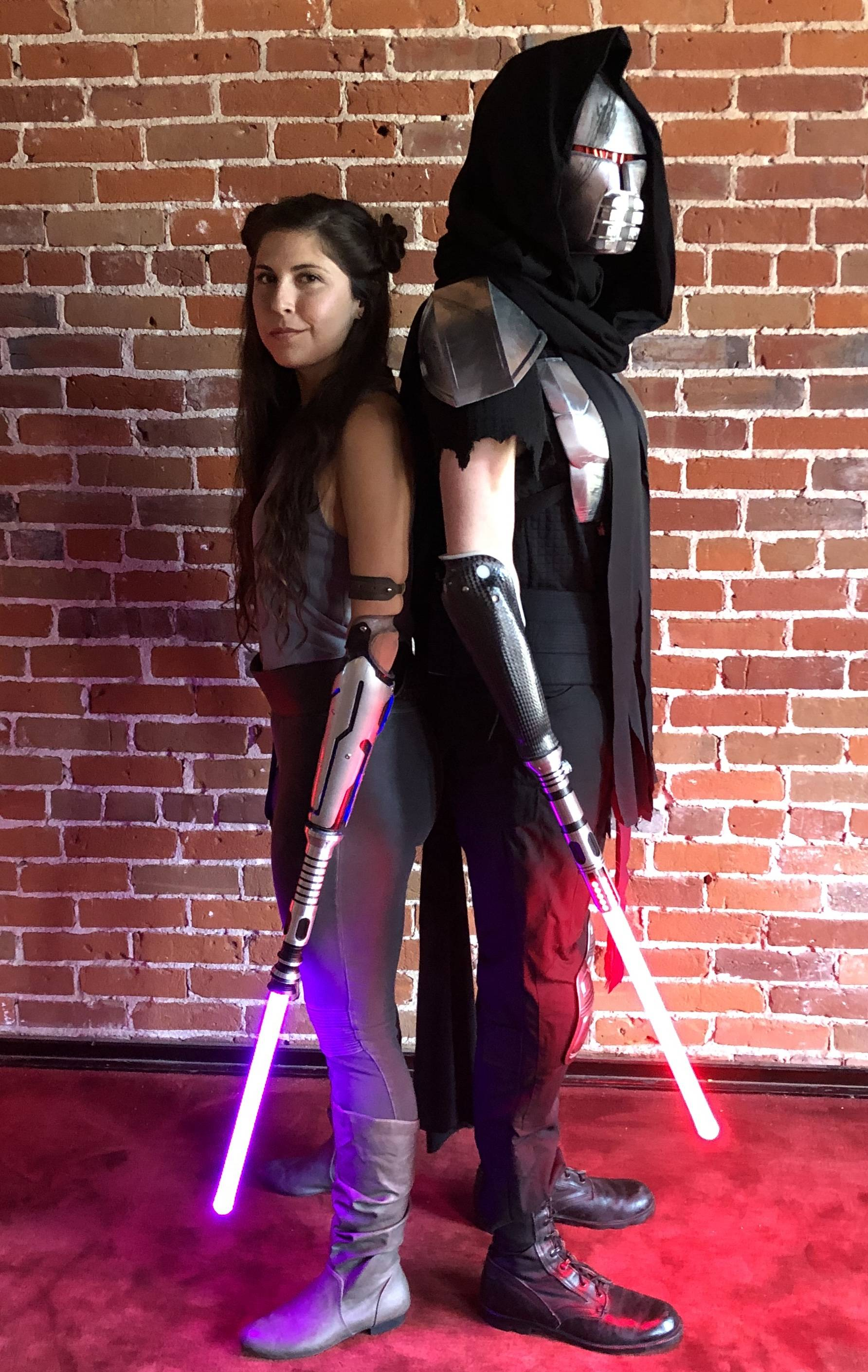 Cosplaying with our bionic arm lightsaber attachments