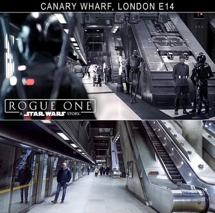 Rogue One: A Star Wars Story used Canary Wharf, Jubilee Line Station, and redressed it to use as an Imperial base