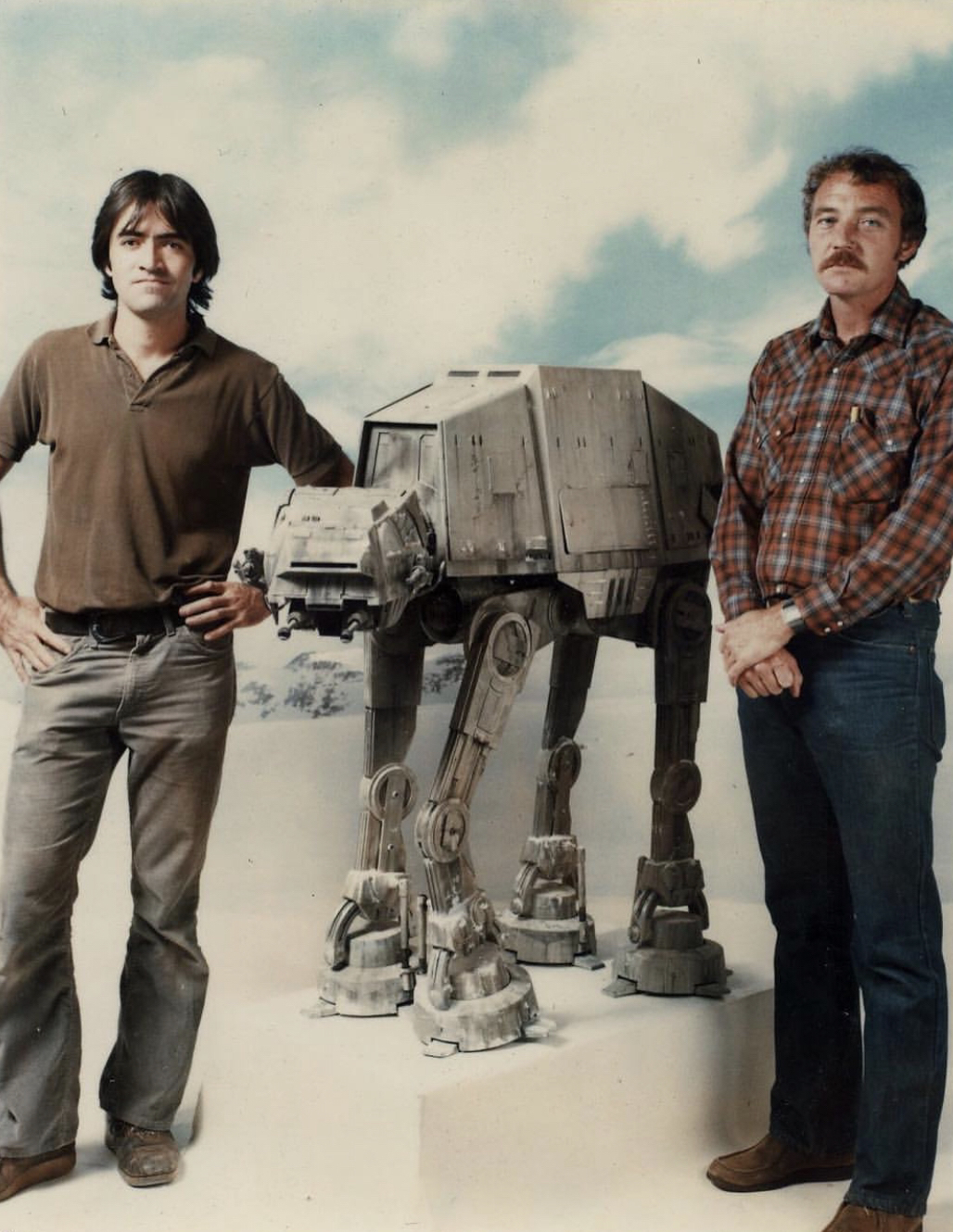 ILM model makers and an AT-AT during the production of Empire Strikes Back