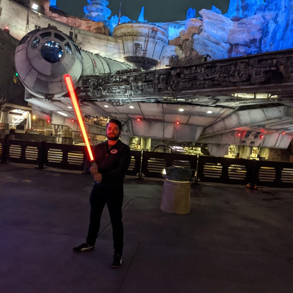 I bought a lightsaber last night. Galaxy\'s Edge was also basically empty so I took full advantage.