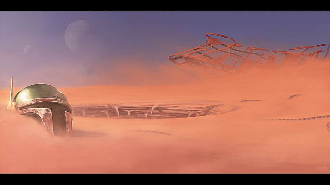 The aftermath of jabba the hutt\'s sail barge in the dune seas of Tatoonie.