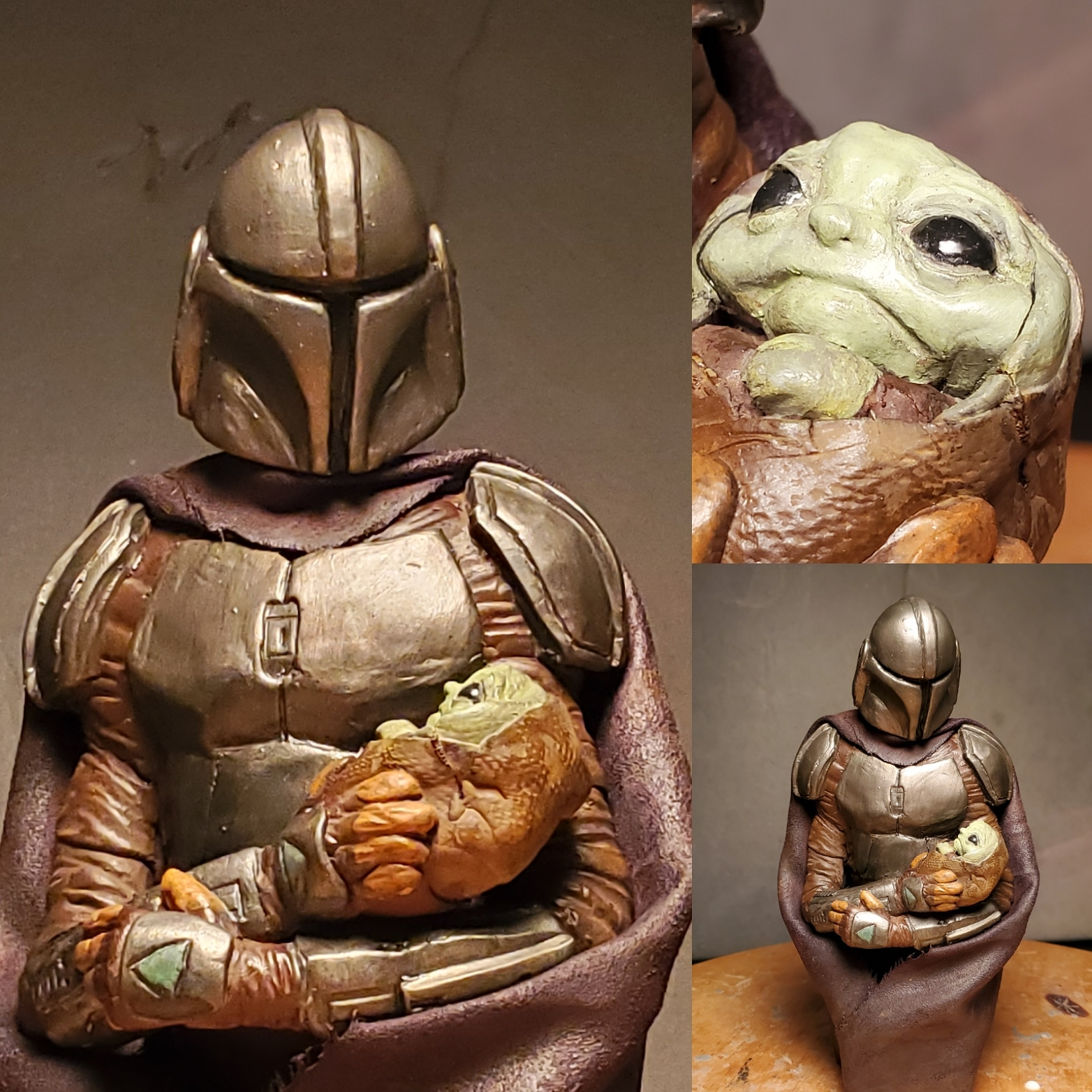 My Mandalorian and The Child sculpture.