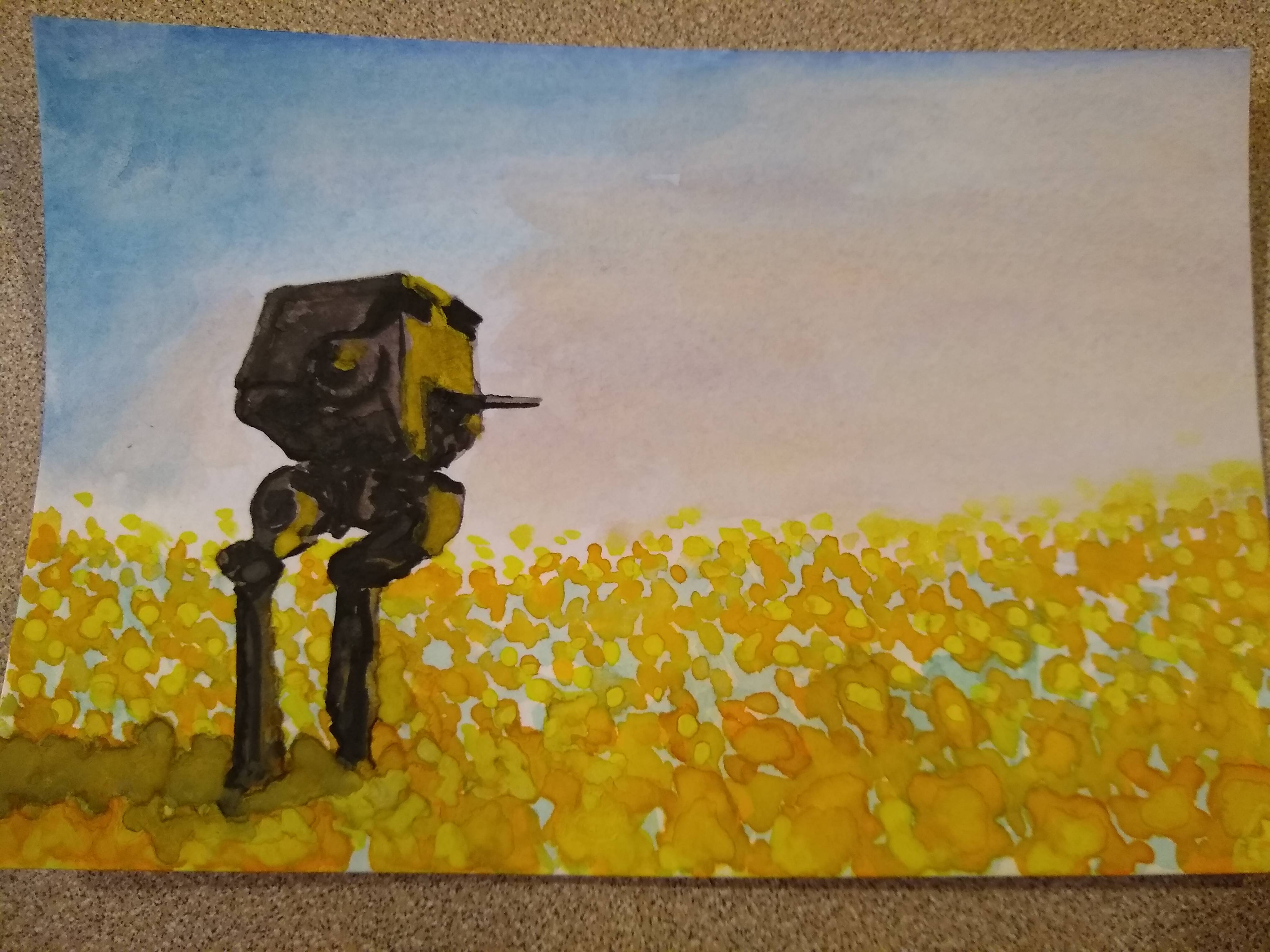 My wife was doing some watercolor landscapes and I asked her to add an AT-ST for me. I married the right woman.
