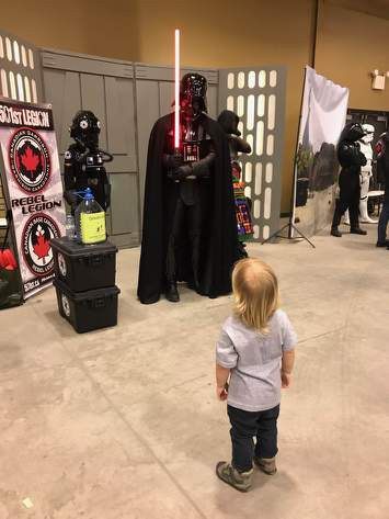 My son ran across darth vader at our towns small comicon