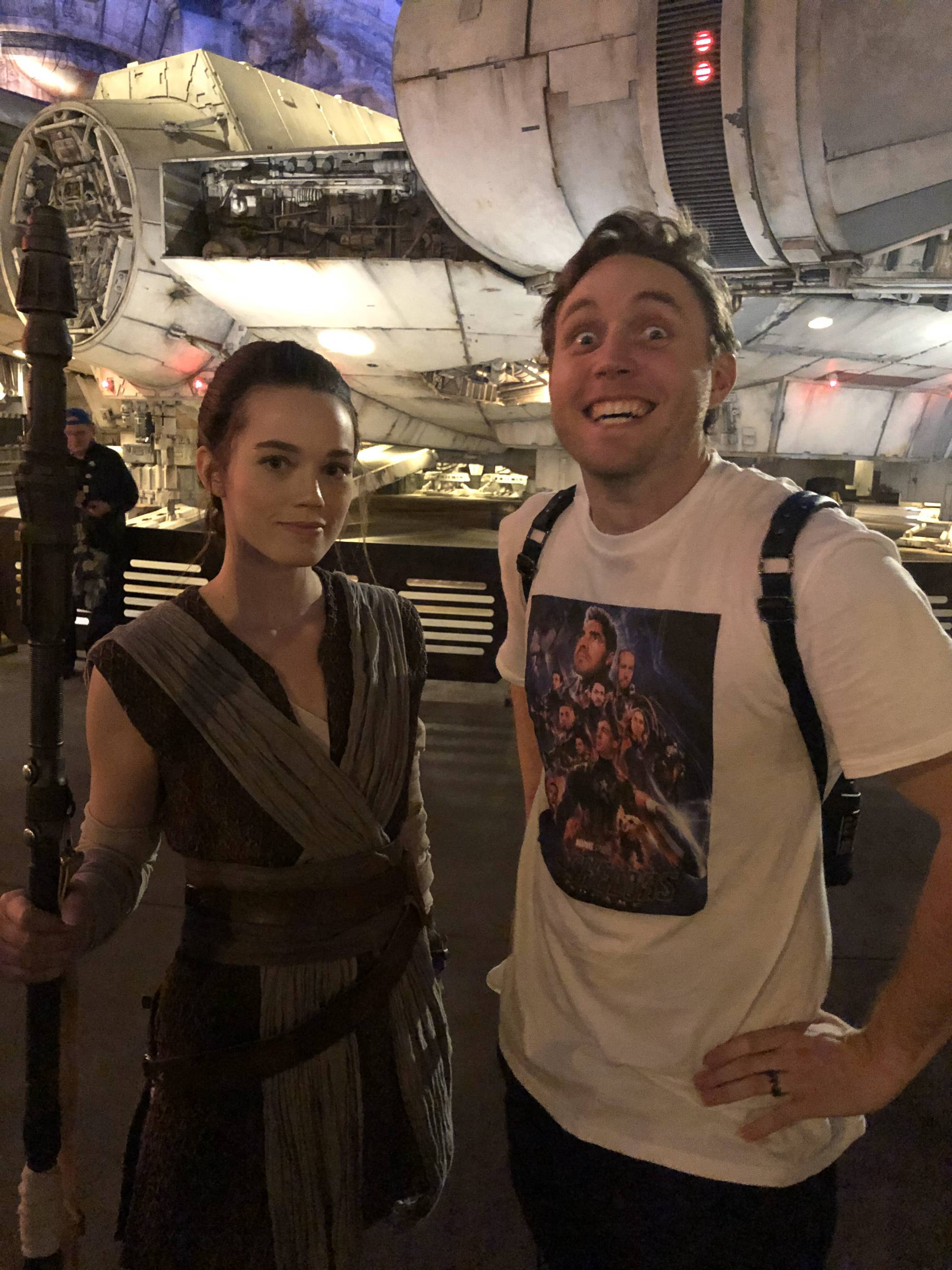 Took my friend to Disneyland and Galaxy's Edge, Rey couldn't sign his autograph book but was willing to take this pictur...