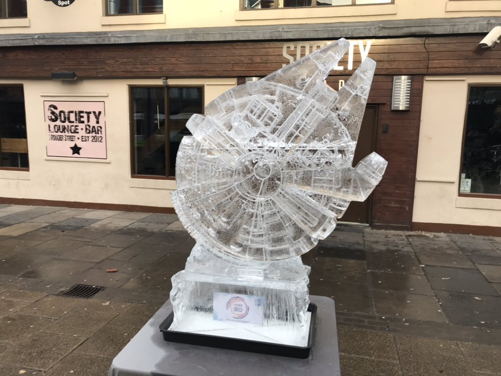 Ice Sculpture of The Millennium Falcon in York UK