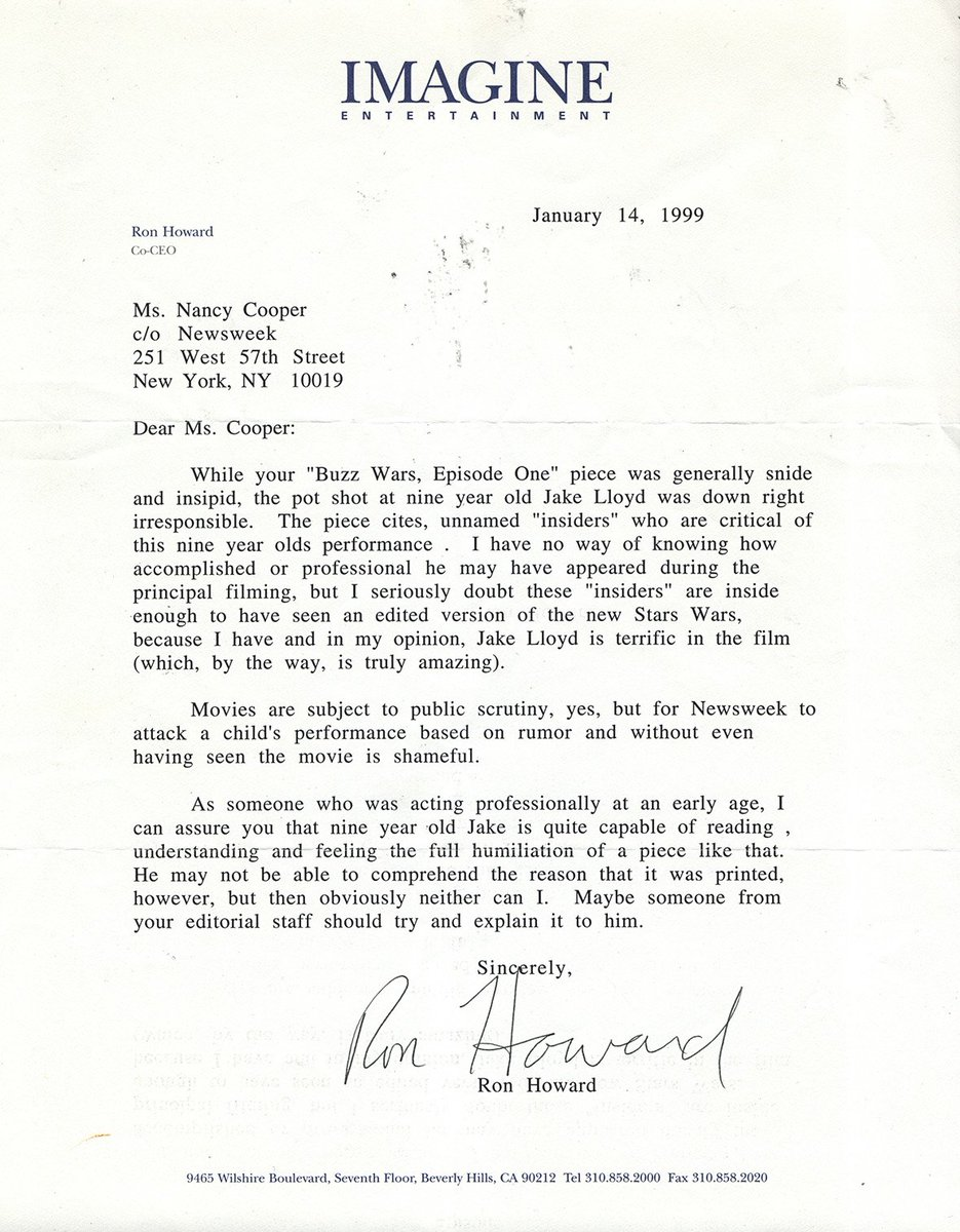 The letter Ron Howard sent to Newsweek after an article \'critiqued\' Jake Lloyd\'s performance in Star Wars E1 (Phantom Me...