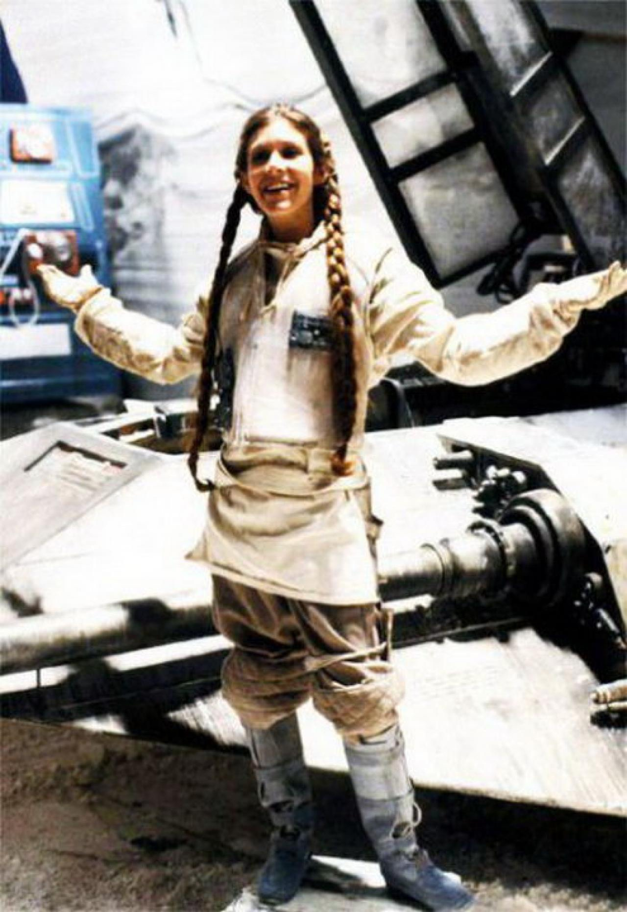 Carrie Fisher letting her hair down on the set of