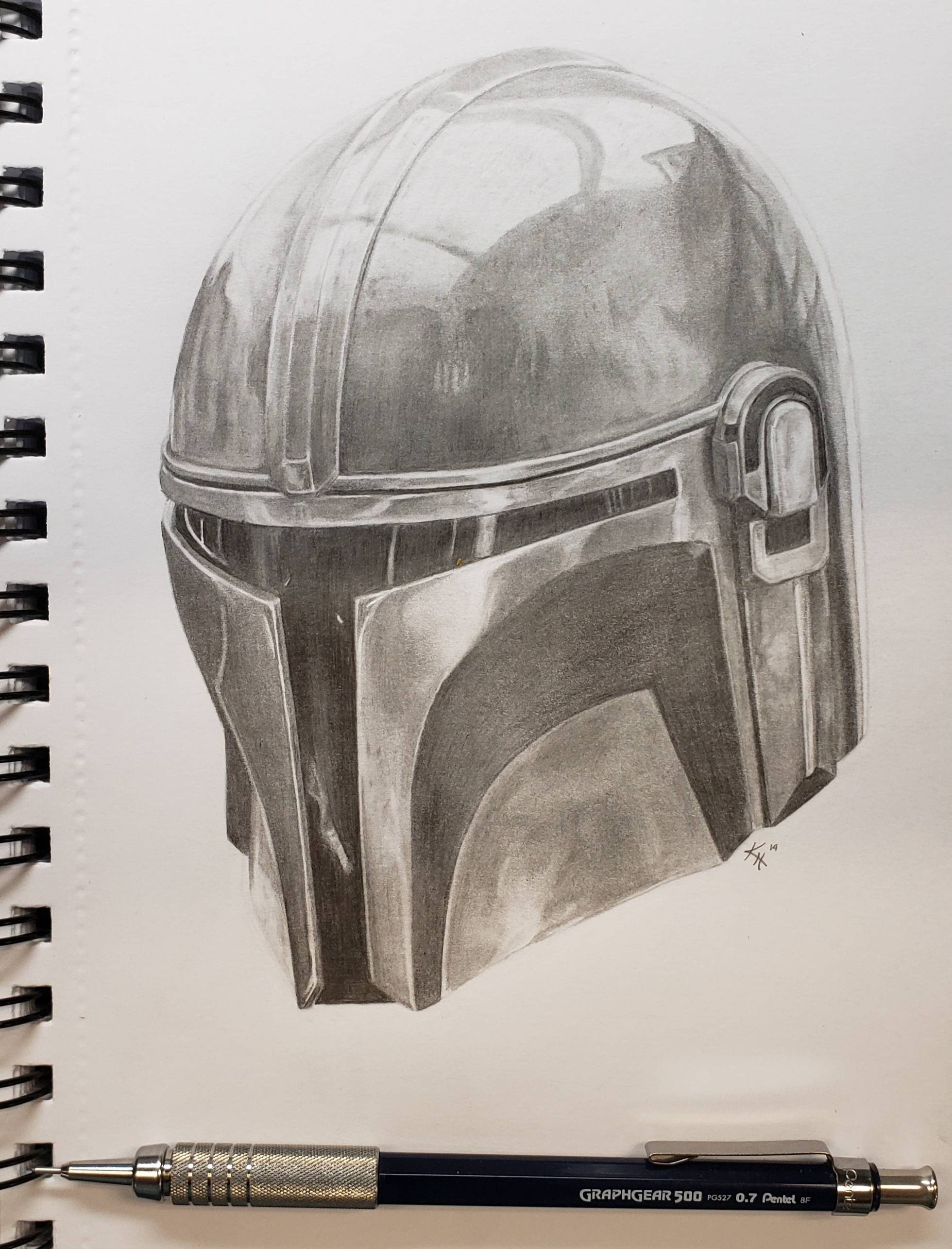 [OC] I drew the Helm of the Mandalorian!