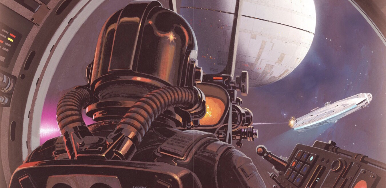 Ralph McQuarrie's 1976 production illustration of a TIE Fighter pilot pursuing the Millennium Falcon