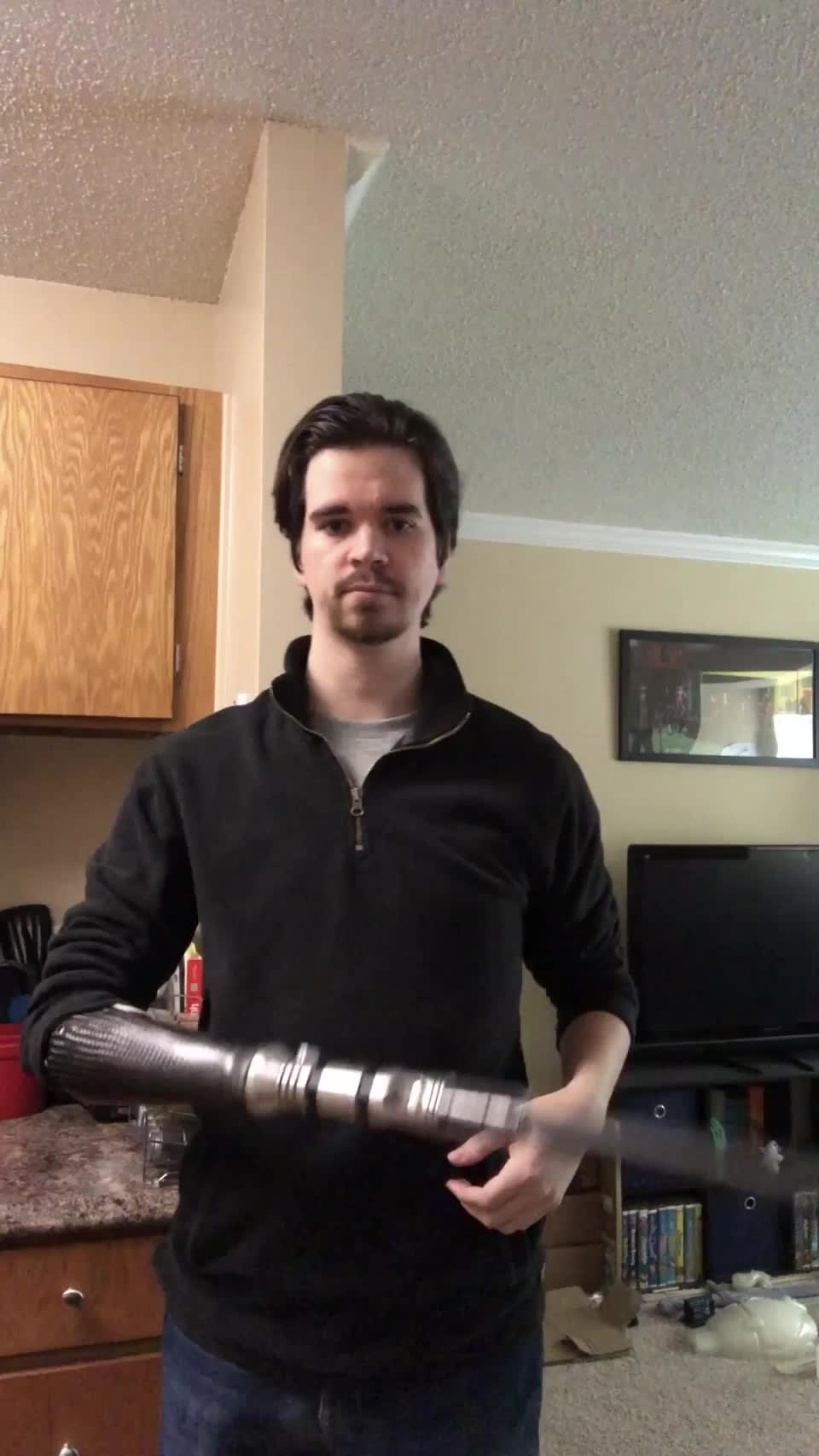 A brief test of my new Darksaber attachment for my bionic arm