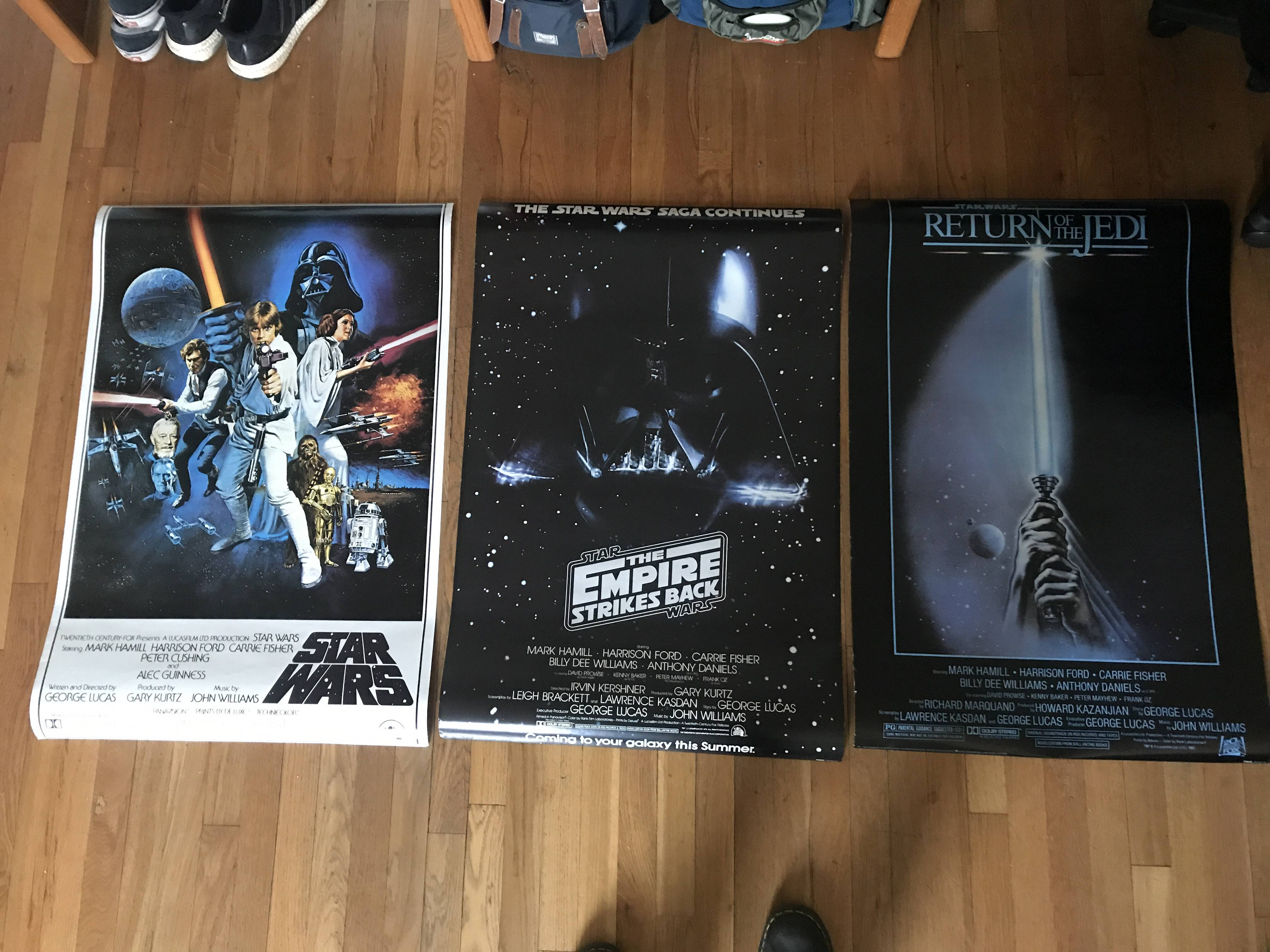 Thrifted movie posters of the first trilogy. All originals from 70-80s in near perfect condition.