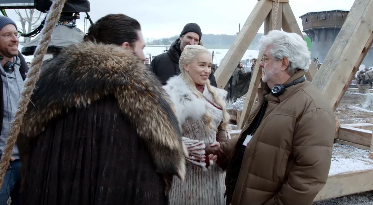George Lucas visiting the set of Game of Thrones, Season 8.