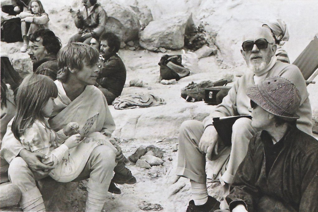 Mark Hamill and Alec Guinness taking a break from filming in Tunisia