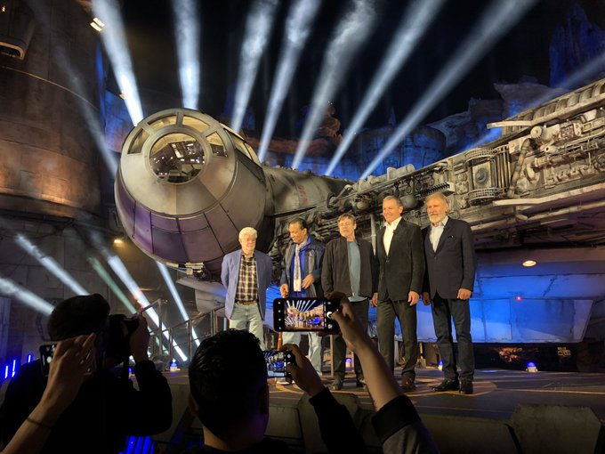 George Lucas, Billy Dee Williams, Mark Hamill, Bob Iger, and Harrison Ford at Star Wars: Galaxy\'s Edge Dedication