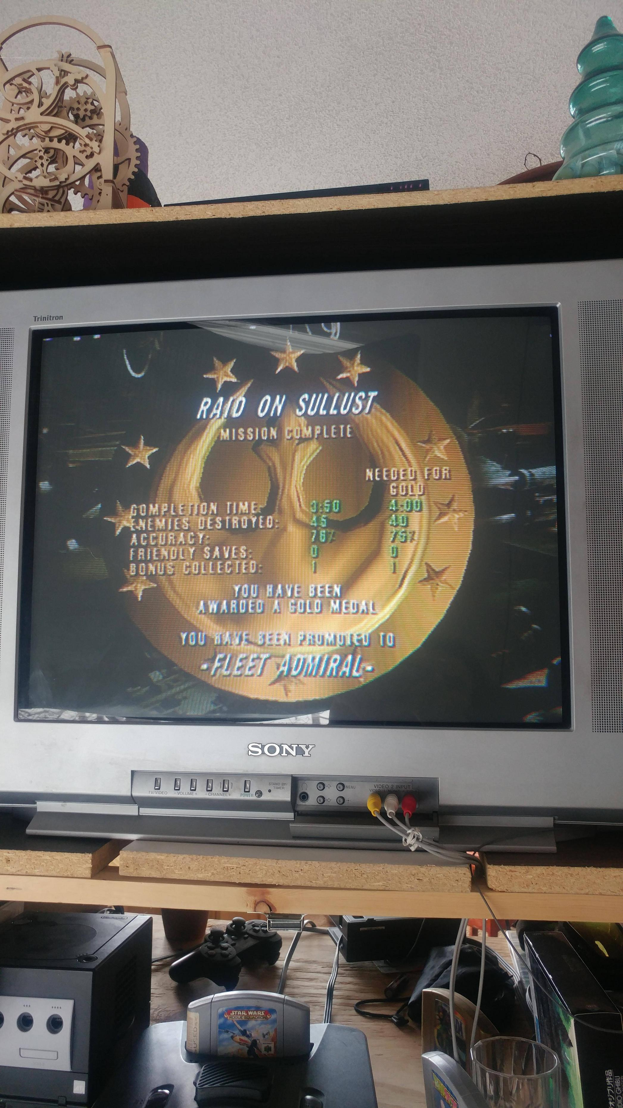Raid on Sullust gold medal on Rogue Squadron 64. I\'ve had this game since I was a kid and I finally got the gold.
