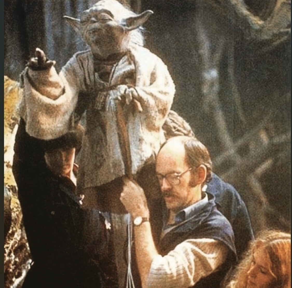 Yoda and Frank Oz on the set (he's also the voice of Yoda)