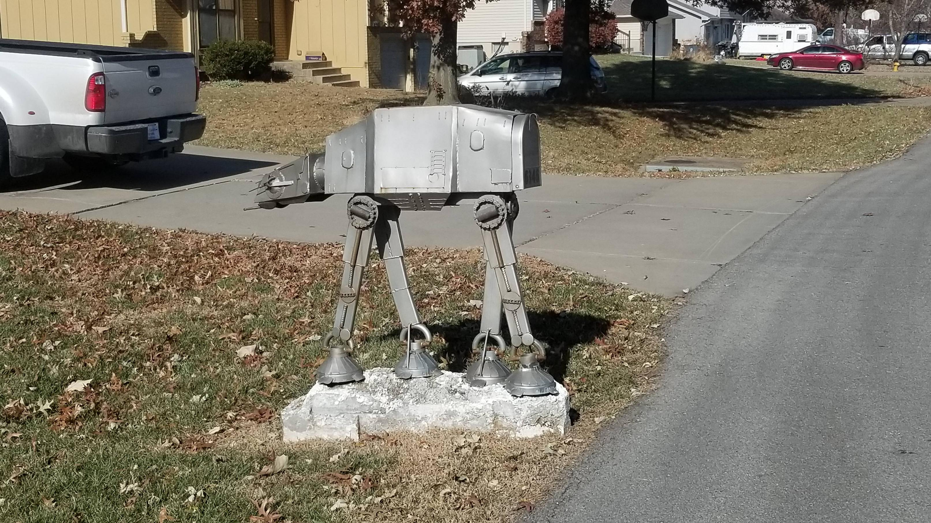 I see your neighbors AT-ST mailbox, and I raise you my neighbors AT-AT mailbox.