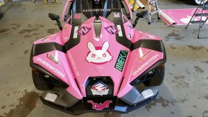 A slingshot wrapped in the style of D-Va from Overwatch..