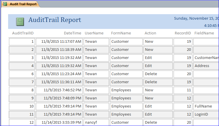 Create Audit Trail Database