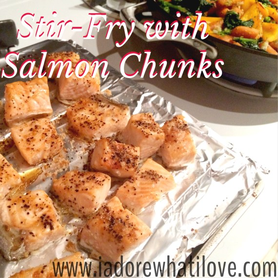 Simple Stir-Fry with Salmon Chunks - via www.iadorewhatilove.com