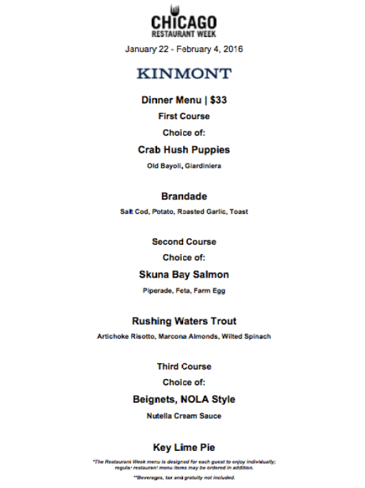 I Adore What I Love - The Top Chicago Restaurant Week 2016 Menus That Appeal to Everyone - Kinmont