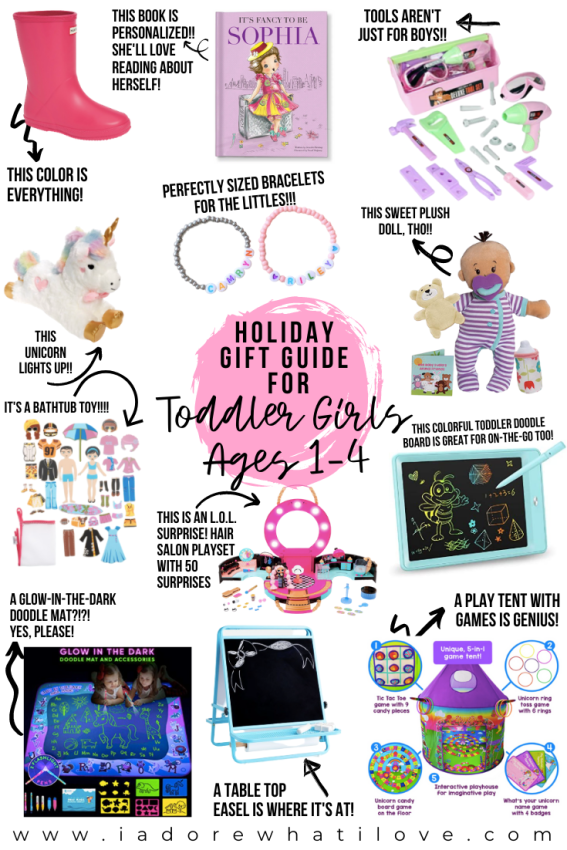 Shopping for toddler girls this holiday season? I've got you covered with 12 creative and fun toys she is going to love no matter what!