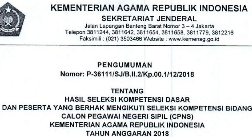 Hasil Seleksi SKD dan Peserta Yang berhak Mengikuti SKB CPNS Kemenag Satker IAIN Padangsidimpuan
