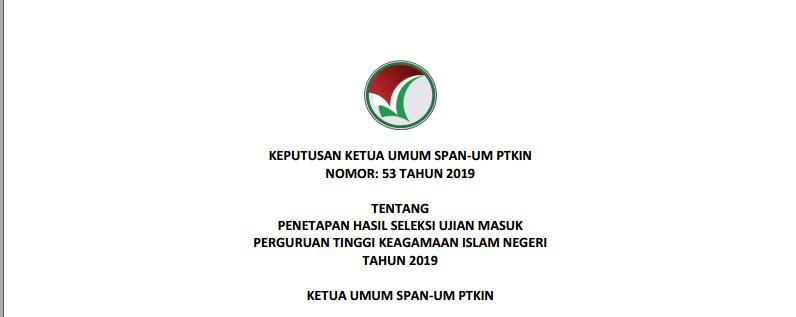 Pengumuman Kelulusan UM-PTKIN 2019 IAIN Padangsidimpuan