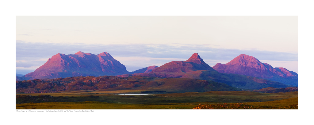 NWP_40_02 Three Peaks at Midsummer sundown - Cul Mor, Stac Pollaidh and Cul Beag