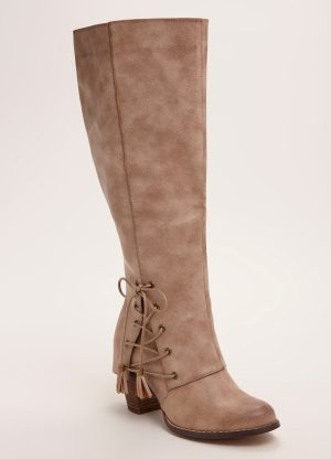 Lace Up Knee-High Heel Boots (Wide Width & Wide Calf)