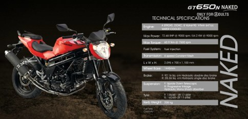 GT 650 N specifications - click to enalrge