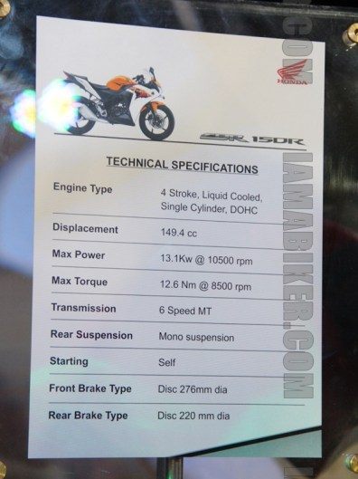 Honda CBR 150R specifications India