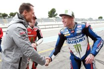 Michael Schumacher, Pol Espargaro, Randy Mamola, John McGuinness and Keith Flint at the Paul Ricard circuit - 06