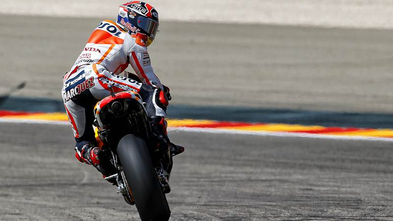 Marc Marquez back on pole at Aragon